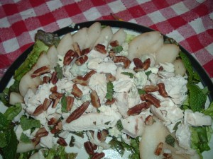 Jane Brody's Chicken and Pear Salad. I added toasted pecans and gorgonzola cheese.