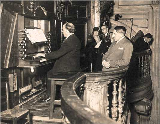Louis Vierne playing the organ at St. Nicholas of Chardonnet. Paul-Marie Koenig the organ builder who restored and revoiced this instrument looks on.